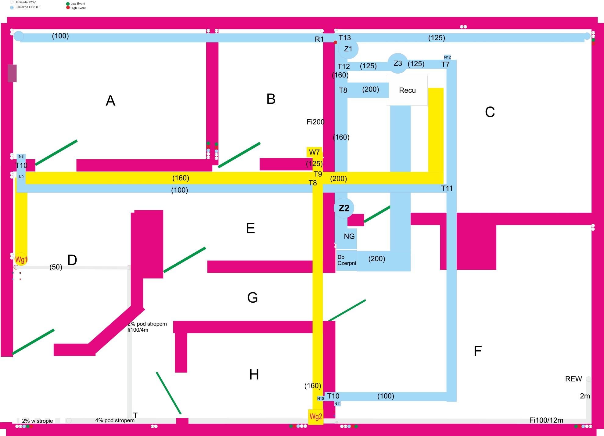 projekt i rzut piwnicy w której jest zamontowana automatyka budynku WiFi