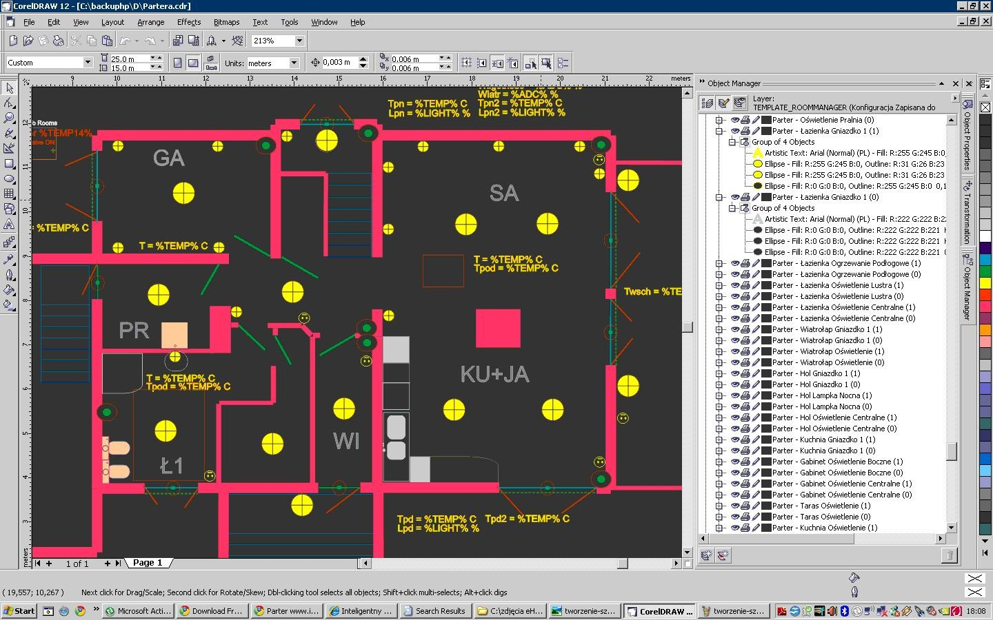 drawing objects on individual layers associated with events eHouse system , state outputs , input , measuring inputs .