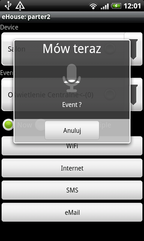 Intelligent home control eHouse acoustic speech recognition - name of the event