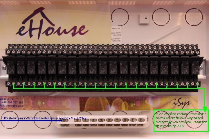 Smart House eHouse - connecting relays and actuators to RoomManager . Connecting the Neutral 230V for receivers .