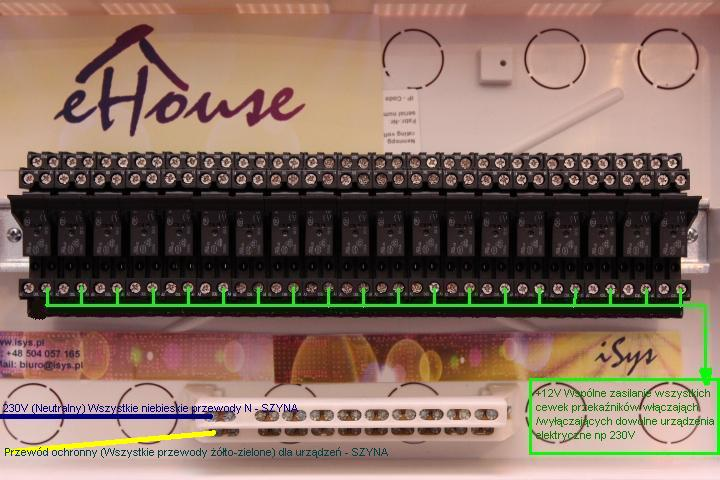 Smart House eHouse - connecting relays and actuators to RoomManager . Connecting the protective conductor .