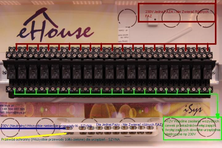 Smart House eHouse - connecting relays and actuators to RoomManager . Connecting 230V phase to control relays .