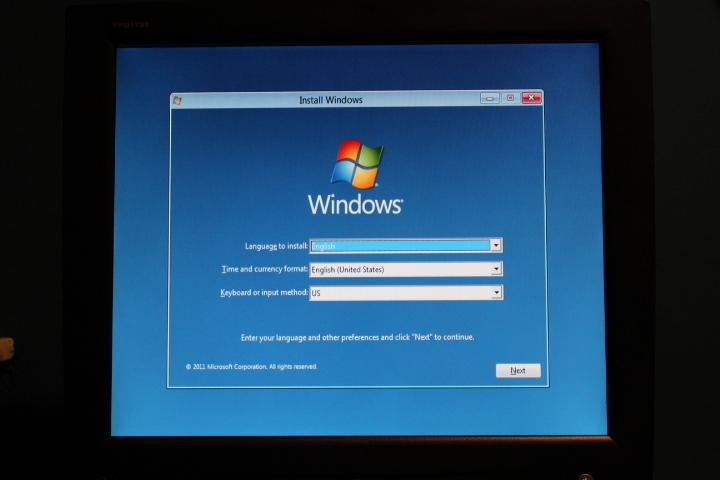 le premier écran d'installation de Windows 8